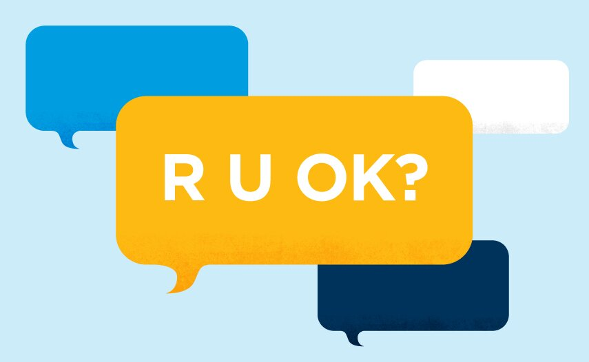illustration of speech bubbles with the question - R U OK?