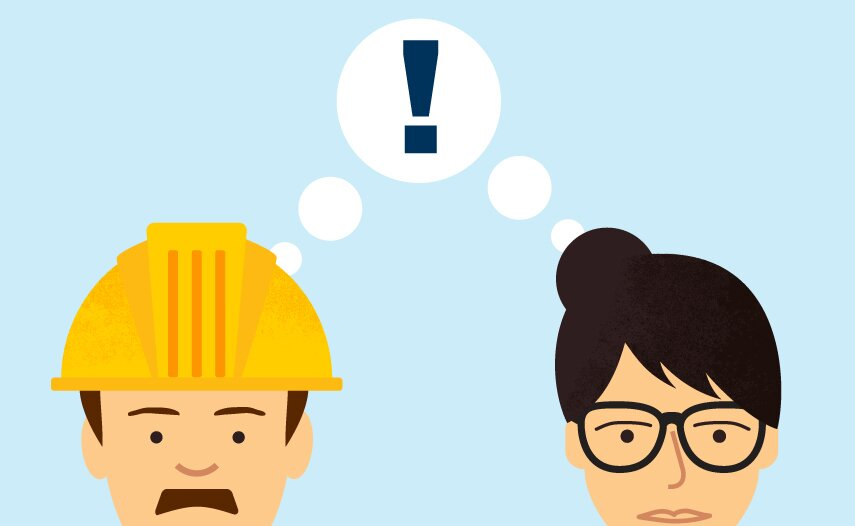 Illustration of two colleagues thinking about workplace risk