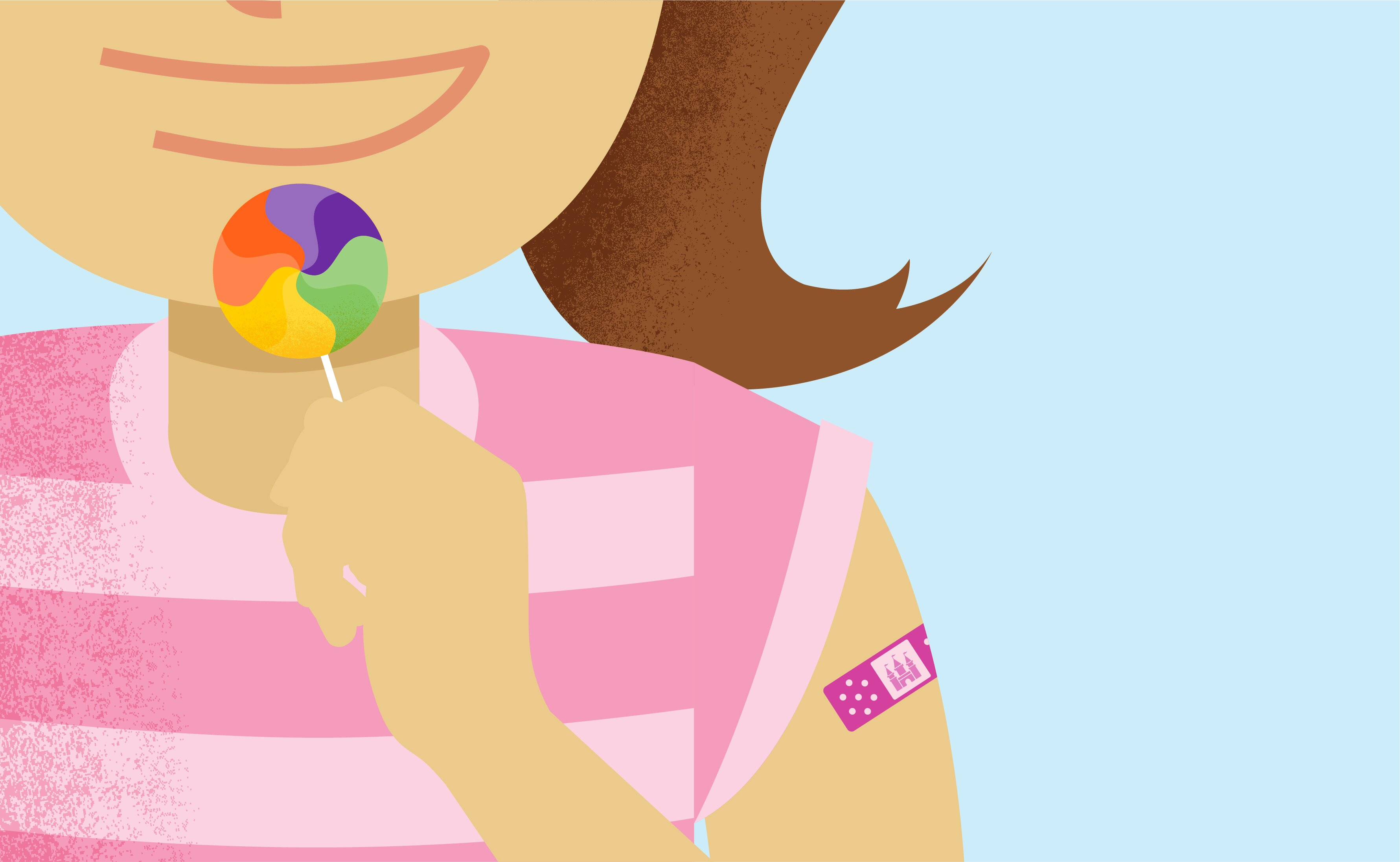Illustration of woman with lolly and band aid over vaccination area on arm